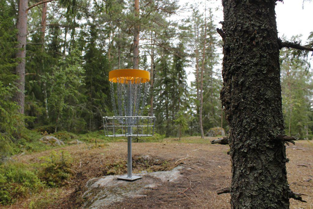 Frisbeegolfkori metsässä