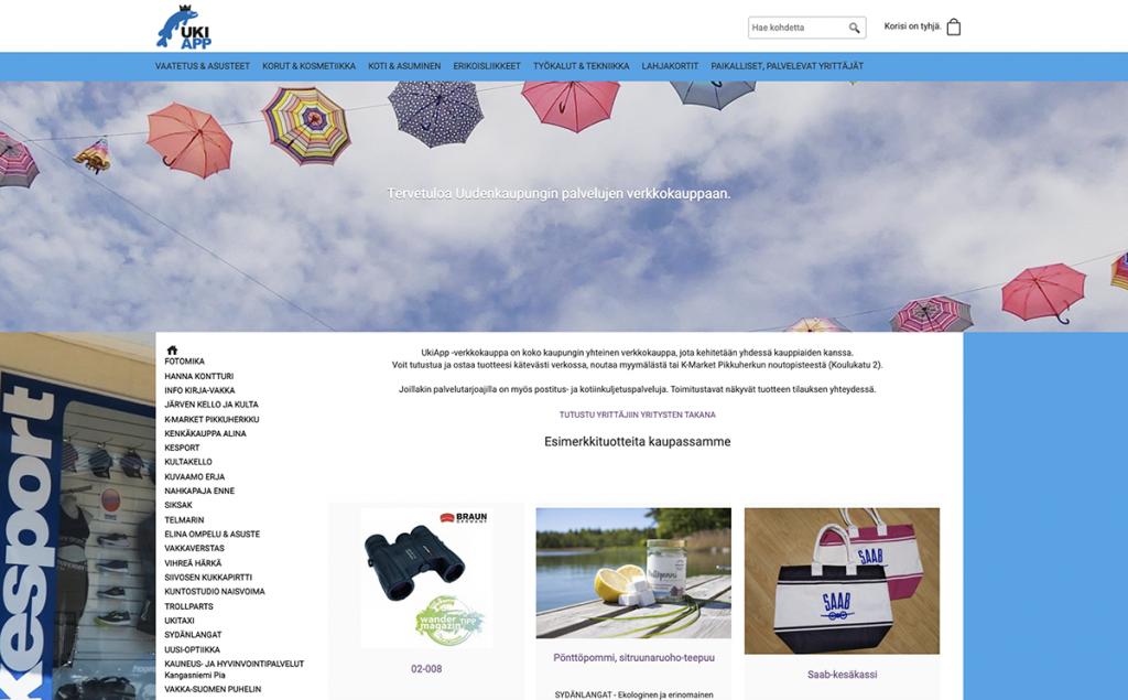 Kuvakaappaus UkiApp-verkkosivuilta, tuotteita esillä
