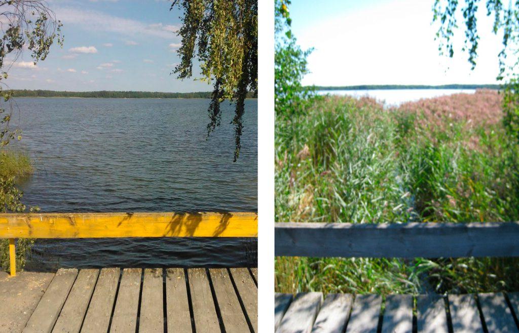 Vasen kuva ruoppauksen jälkeen ja Oikealla kuva tilanteesta ennen ruoppausta.